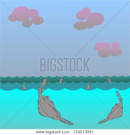 Saw fish vector background. Marine Character. Great white shark.
