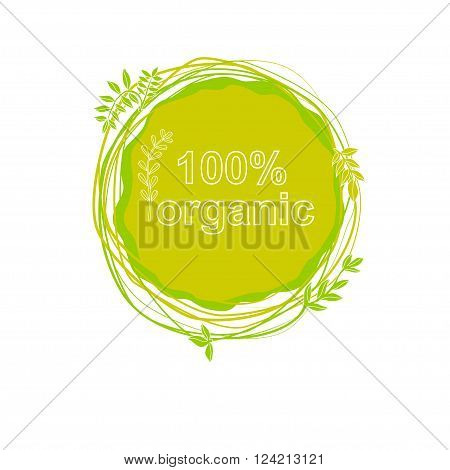 Vector hand drawing label for organic product. Sunny summer splash sketch elements. Natural food logo element. Sketch food and drink sticker. Farm offer.