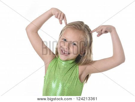 6 or 7 years old little girl with blond hair and blue eyes smiling happy posing isolated on white background pointing head in language lesson for child education and body parts school chart serie