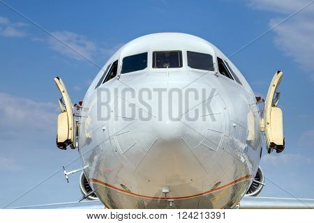 ZHUKOVSKY, RUSSIA - AUG 26, 2015: Airplane shown at International Aerospace Salon MAKS-2015 on august 27, 2015 in Zhukovsky, Moscow region, Russia