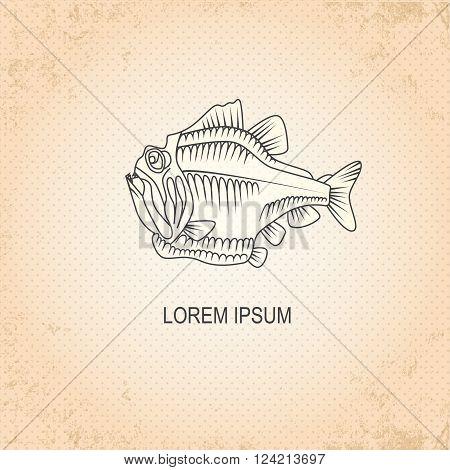 Vintage sea background. Hand drawn sketch seafood vector illustration of fish piranha