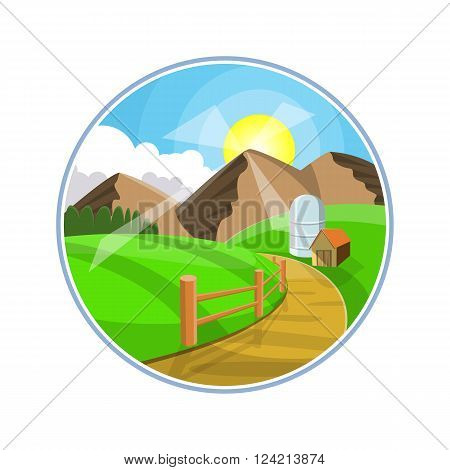 Countryside road landscape illustration. Rural areas with mountains, hills and fields. Nature pathway on farmland