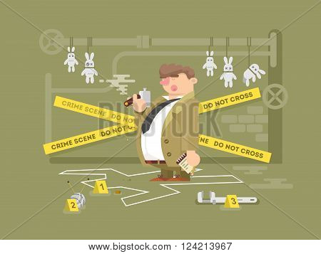 Detective character man. Person investigation, police inspector and private agent search, vector illustration