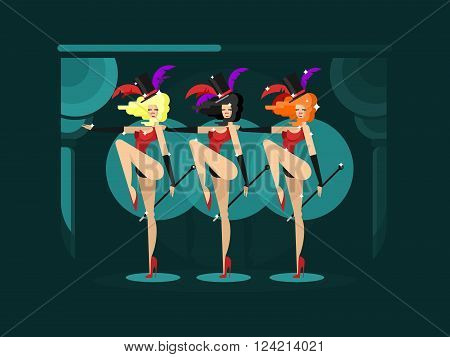 Cabaret dance girls. Dancer show woman, sexy performance lady, vector illustration