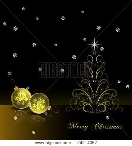 Bright Christmas background with gold evening balls and Christmas tree. Vector Illustration. EPS 10.
