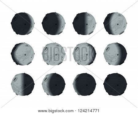The whole cycle of moon phases from new moon to full isolated on white