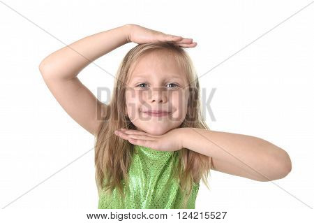 6 or 7 years old little girl with blond hair and blue eyes smiling happy posing isolated on white background showing head in language lesson for child education and body parts school words chart serie