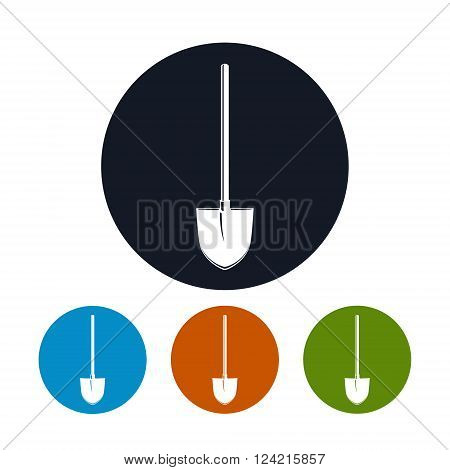 Shovel Icon, Four Types of Colorful Round Icons Shovel, a Tool for Digging, Agricultural Tool Icon , Garden Equipment Icon, Vector Illustration