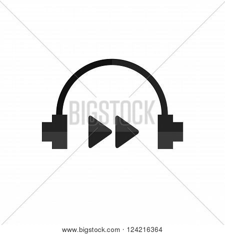Technology headphones rewind flat vector icon on white background