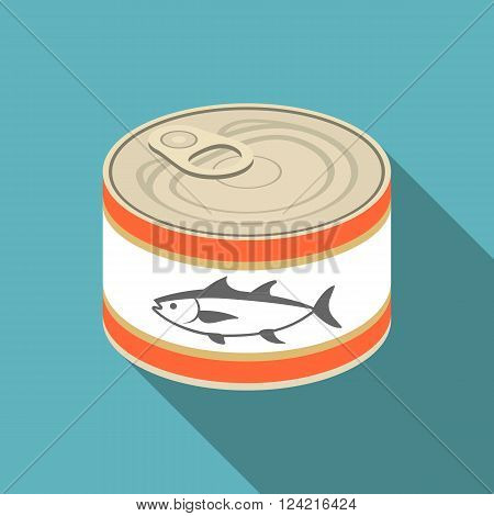 vector illustration canned  tuna,flat design with clear background
