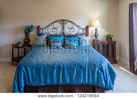 Nicely decorated master bedroom in a new house with master on main