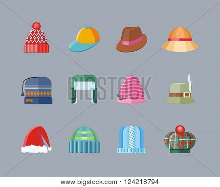 Set of hat flat design collection. hat accessory clothing wear, christmas hat, retro vintage woman hat elegance vector illustration
