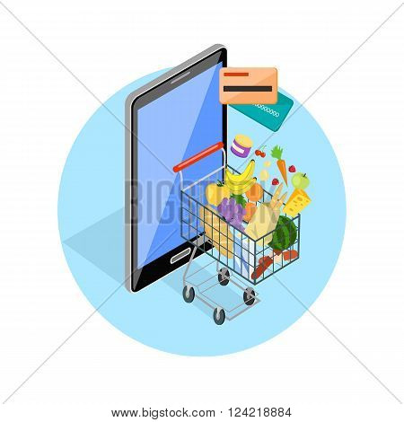 Concept of shopping via internet shop. Isometric online and smartphone, card pay, 3d web sale, e-commerce and foodstuffs, business technology, convenience and mobile. Smartphone and basket of food