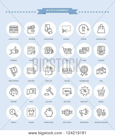 Set of black e-commerce thin, lines, outline, strokes icons. Best offer elements of the process of shopping in internet on white background. For websites, web and mobile applications
