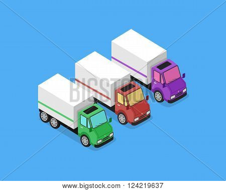 Isometric delivery lorry car icon. Three 3d delivery vector truck. Service van fast delivery concept. Isometric cargo vehicle van transport truck car isolated on blue background