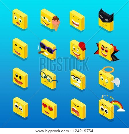 Isometric set smiley funny design. Smiley isometric, smile and smiley face, emoticons and square smiley icon, happy 3d smiley vector, face cartoon, emoticon funny  vector illustration