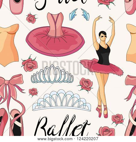 Ballet colorful pattern with ballet shoes, ballet tutu, ballerina, applause. Vector ballerina isolated.