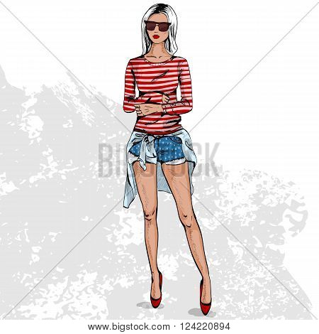 High fashion look color. Glamor stylish beautiful young woman model. Bright colorful cloth.