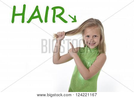 6 or 7 years old little girl with blue eyes smiling happy posing isolated on white background pulling pointing her blond hair in learning English language school education body parts card set