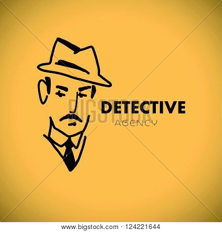 Flat detective agency logo design. Hand drawn artistic stylish man in hat portrait. Detective bureau insignia. Business card, leaflet flyer. Poster, banner, placard. Article, story, book illustration.
