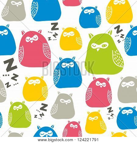 Seamless colorful pattern with cute sleeping owls. Vector repeated background foe children print.