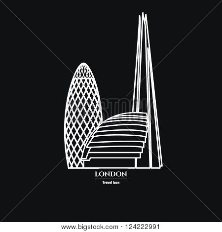 Vector Illustration of London Icon Outline for Design, Website, Background, Banner. Travel Britain logo Downtown Landmark Element Silhouette Template for Tourism Flyer