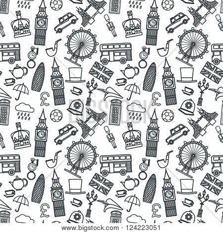 Vector Illustration of England Icon Outline Seamless PAttern for Design, Website, Background, Banner. Travel Britain Logo Landmark Silhouette  Element Template for Tourism Flyer. Big Ben, London Eye, Bus, Taxi, Crown