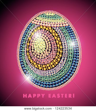 Vector Easter rhinestone background. Rhinestone egg shape pattern. Easter postcard, package, present, congratulation card design.