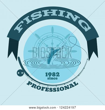 Vector Illustration Of Marline Fish In Waves  Retro Blue Paper Vector Illustration Logo And Emblem F
