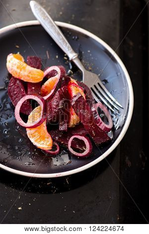 Salad With Beetroot, Mandarins, Onions, Cheese