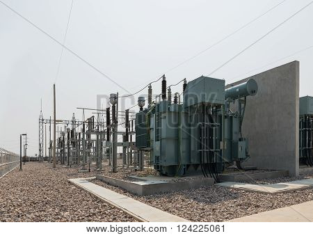 The High Voltage Equipment In The Outdoor Electrical Substation Yard