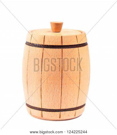 Wooden oak barrel for honey isolated on white background