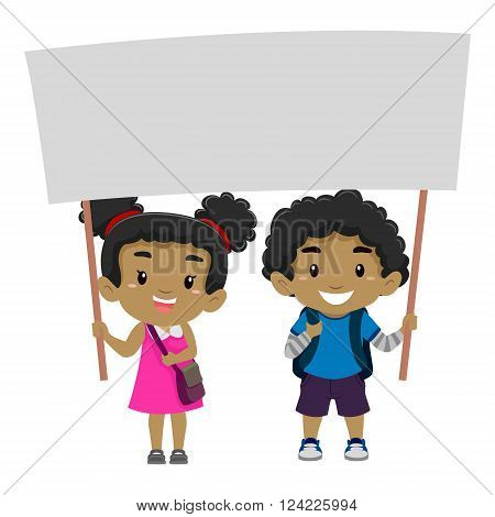 Vector Illustration of a Boy and a Girl Holding a blank Signage