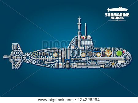Submarine mechanics scheme with underwater warship composed of weapon and details such as propellers and gears, chains and bearings, sonar and periscope, torpedo and engine order telegraph, portholes, cranks and gauges