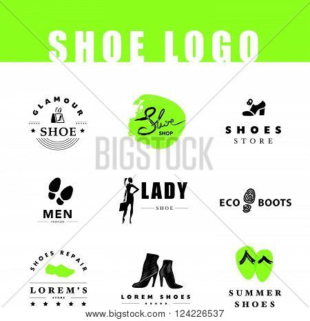 Vector flat shoe store logo design. Boots shop insignia template. Lady and gentleman style. Fashion and beauty industry.