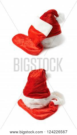 Santa's red hat cap and Christmas sock shaped bag stocking, composition isolated over the white background, set of two different foreshortenings