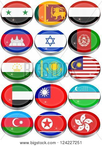 Set of icons. Flags of the Asia.
