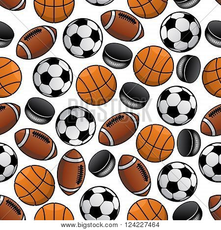 Seamless pattern of soccer, american football and basketball balls and ice hockey rubber pucks randomly scattered over white background. May be use as fabric or sports backdrop design