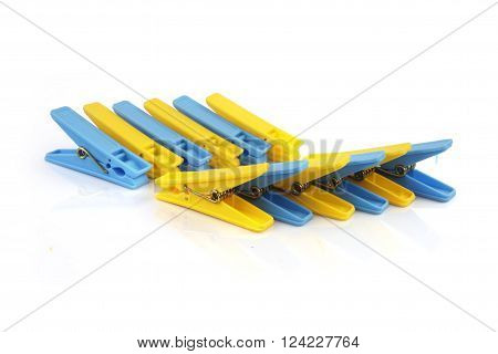 Plastic Clothe pins Isolated on White Background