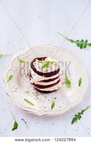 Beetroot And Mozzarella Salad And Arugula