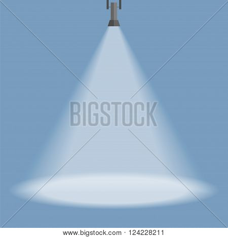 Spotlight shines down isolated on blue background. Black hanging lamp. Design element. Vector illustrationeps 10.