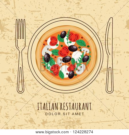 Italian Pizza And Line Dish, Fork And Knife On Textured Grunge Background.