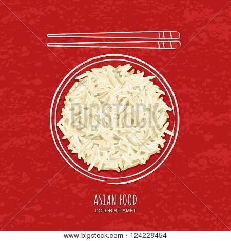 Illustration Of Boiled White Rice In Watercolor Sketchy Dish And Chopsticks
