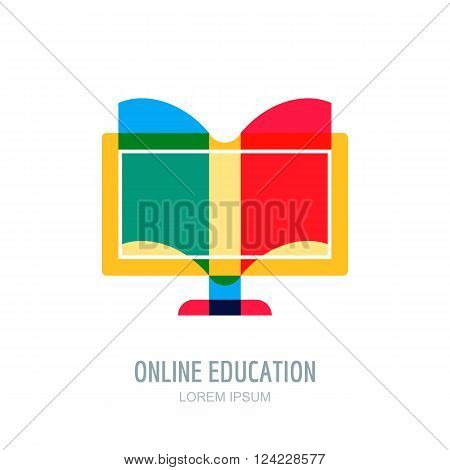 Online, Distance Education Vector Logo, Icon Design Template.