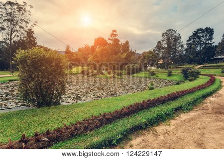 Nuwara Eliya, Sri Lanka. The sun shines Queen Victoria Park. Victoria Park is located in the heart of the alpine resort of Nuwara Eliya - the