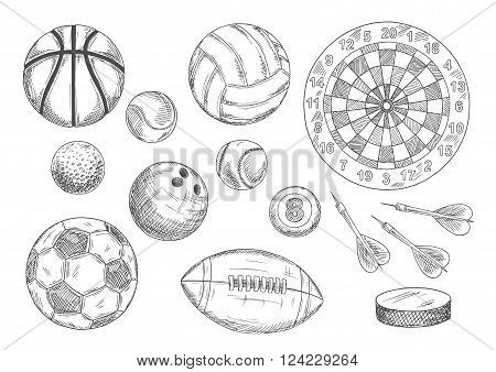 Soccer, american football and basketball, tennis and baseball, volleyball and bowling, billiards and golf games balls with ice hockey puck and darts arrows near target board. Vintage engraving sport items for sport and competition design