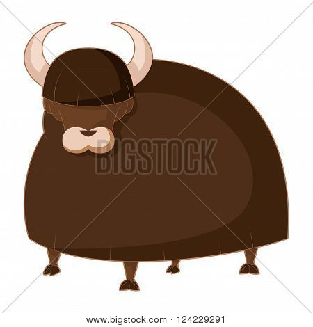 Vector image of the  Cartoon brown Yak