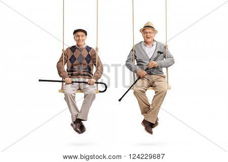 Two old friends sitting on wooden swings and looking at the camera isolated on white background
