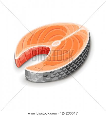 Steak of red fish salmon for sushi food menu vector illustration. Isolated white background. Transparent objects used lights and shadows drawing