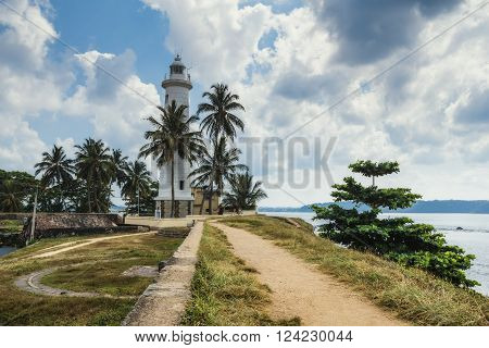 The lighthouse in the town of Galle. Sri Lanka. Galle - the largest city and port in the south of Sri Lanka the capital of the southern province and a popular tourist destination